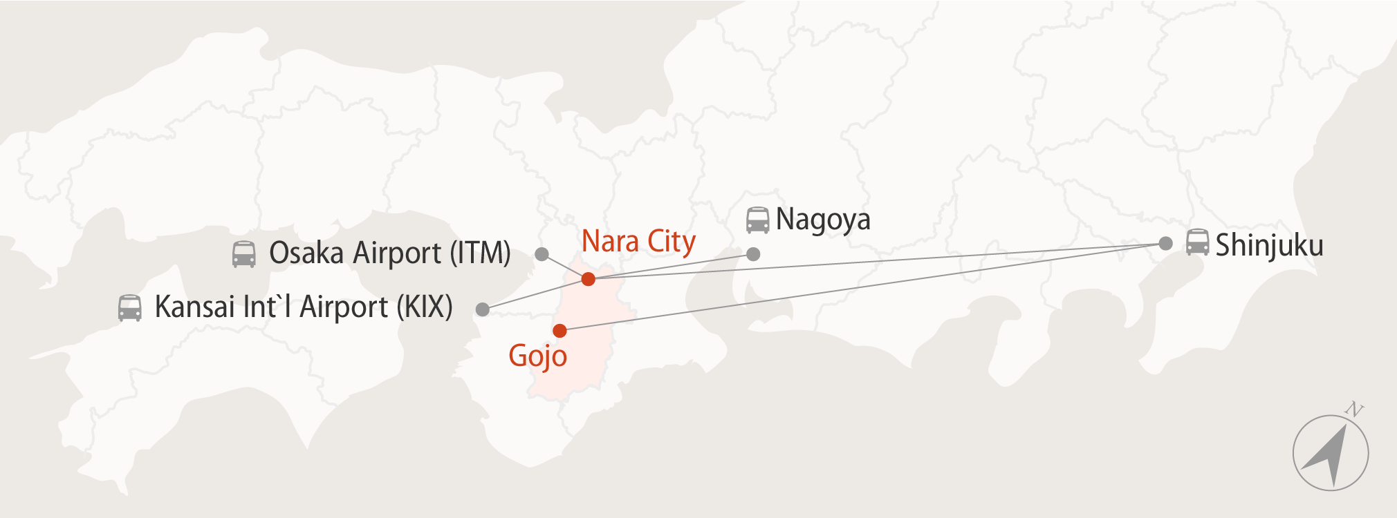 Diagram showing how to get to Nara by bus from Tokyo and Kansai area airports