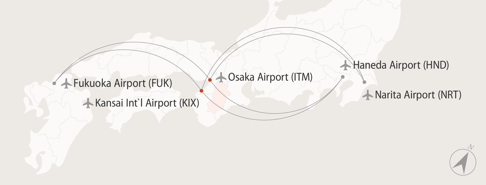 Diagram showing flights to Kansai International and Osaka airports from within Japan